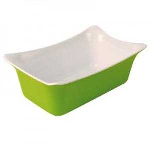 Green/White 1/4 Sz Melamine Fleur Crock  2L