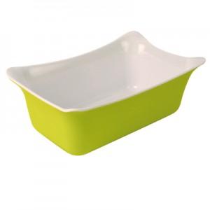 Lime Green/White 1/4 Sz Melamine Fleur Crock