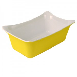 Yellow/White 1/4 Sz Melamine Fleur Crock  SF 2L