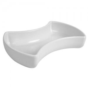 White Melamine Double Crescent Dish  1.7L